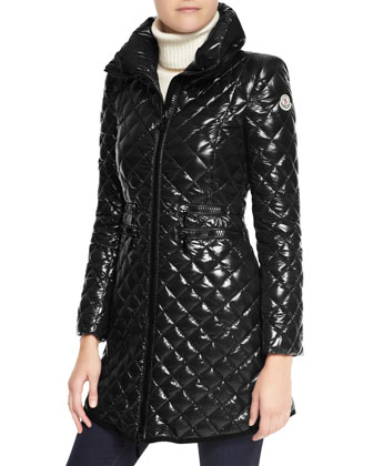 Velvet-Trim Quilted Long Puffer Coat, Black