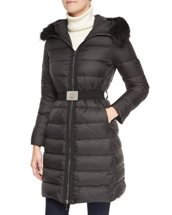 Belted Puffer Coat with Fur-Trimmed Hood