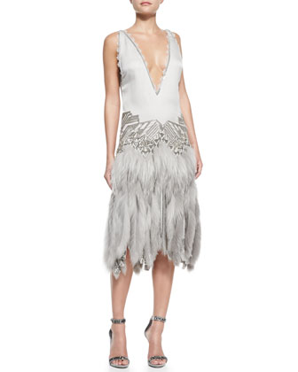 Drop-Waist Fur-Skirted Dress with Beading