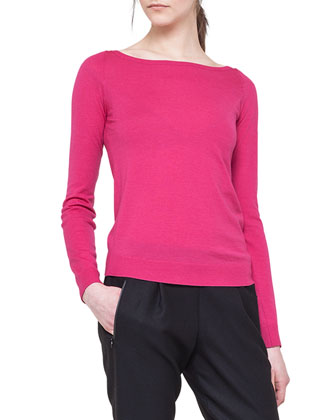 Long-Sleeve Contrast-Zip Top