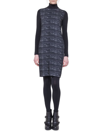 Ski Lift Printed Mock-Neck Dress