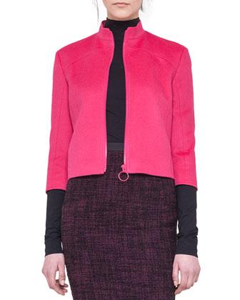 Angora-Blend Zip Jacket