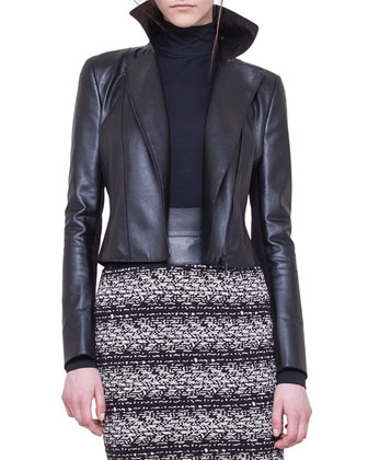 Faux-Leather and Jersey Moto Jacket