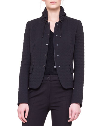 Quilted Drawstring-Collar Jacket