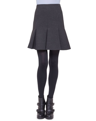 Jersey Flounce Pleat Skirt, Charcoal
