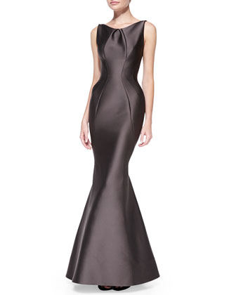 Sleeveless Seamed Mermaid Gown