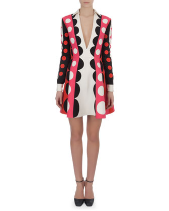 Carmen Stripe Dot Dress with Plunging Neck