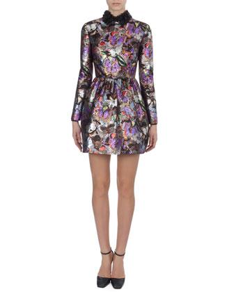 Metallic Butterfly-Print Dress with 3-D Flower Collar