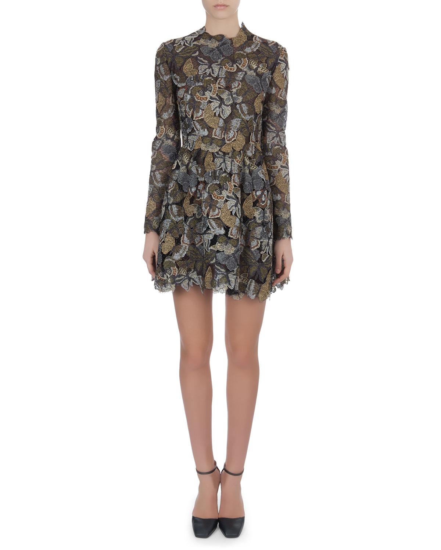 Long-Sleeve Metallic Butterfly Lace Dress