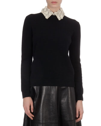 Knit Sweater with Floral-Leather Collar