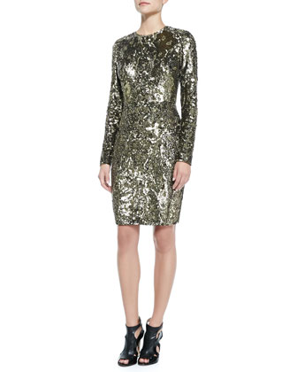 Long-Sleeve Sequined & Beaded Cocktail Dress