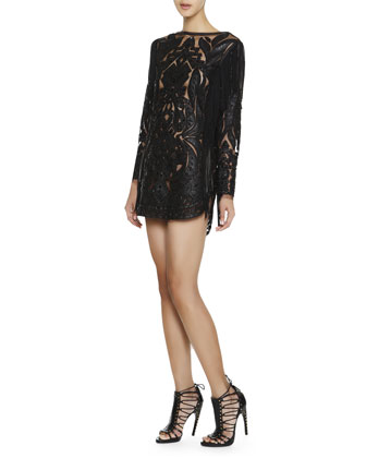Long-Sleeve Leather & Lace Fringe Dress