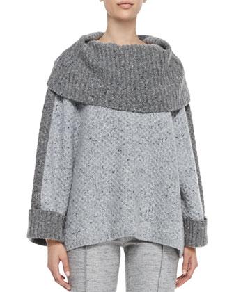 Turtleneck Box Sweater, Light Gray