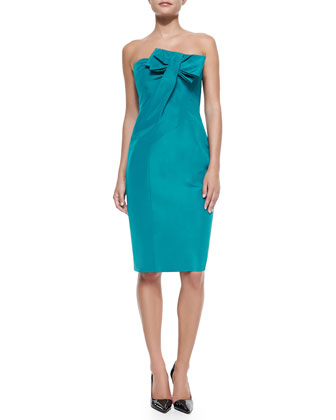 Silk Strapless Cocktail Dress with Bow, Turquoise