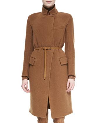 Belted Wool-Blend Officer Coat