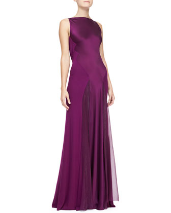 Cowl-Back Bi-Fabric Evening Gown