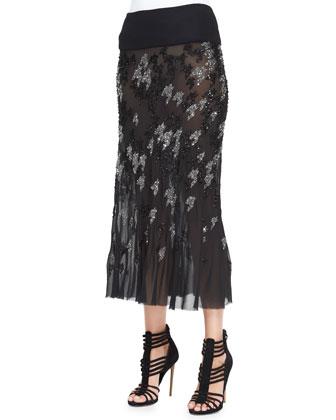 Crystal Houndstooth-Embroidered Midi Skirt