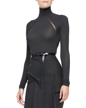Long-Sleeve Turtleneck Bodysuit, Charcoal
