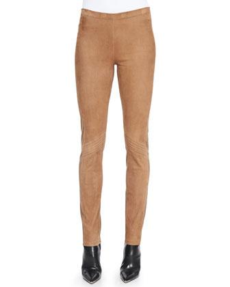 Slim Suede-Front Combo Pants