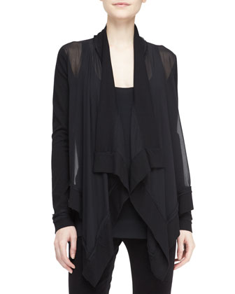 Sheer Drape-Front Cozy Cardigan, Black