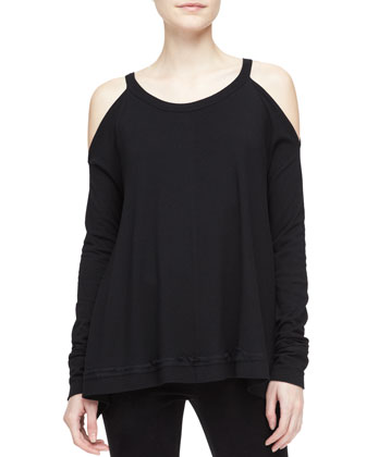 Silk-Side Cold-Shoulder Draped Tunic