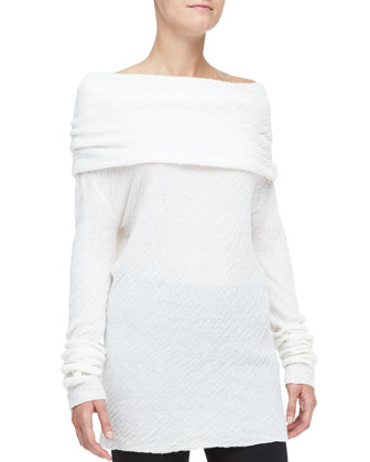 Off-Shoulder Cashmere-Silk Tunic