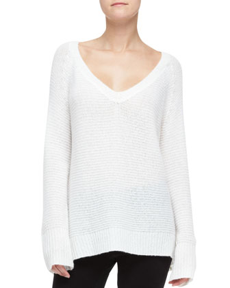 Easy Cashmere-Blend V-Neck Top, Ivory