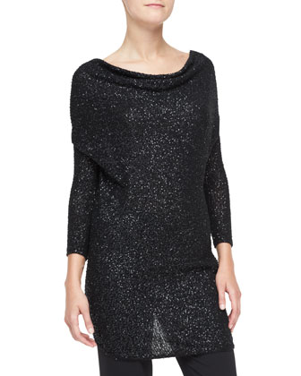 Sequined Cashmere Drape-Front Tunic