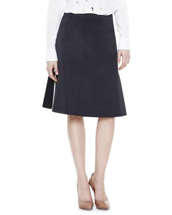 Side-Zip Contrast-Insert Skirt, Black/White