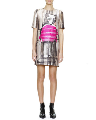 Short-Sleeve Abstract-Print Silk Shift Dress