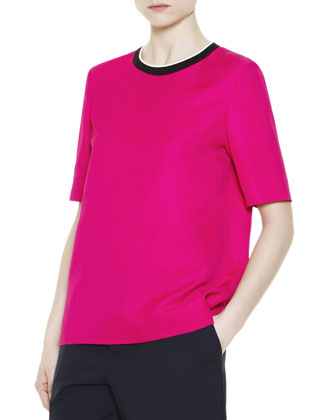 Short-Sleeve Contrast-Neck Top
