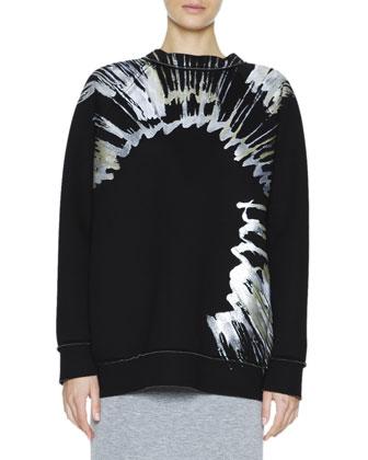 Metallic Splatter-Print Sweatshirt