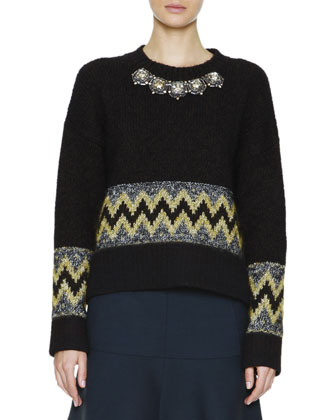 Jewel-Front Patterned Knit Sweater