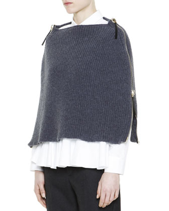 Full-Side-Zip Knit Poncho