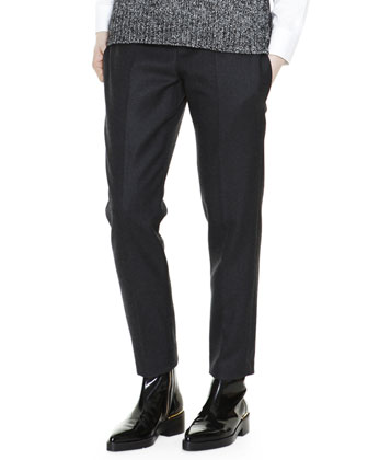 Cropped Flat-Front Colorblock-Yoke Pants