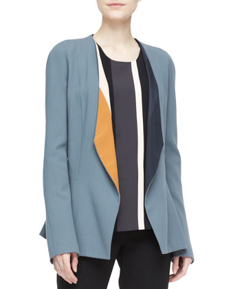 Drape-Lapel Colorblock Blazer