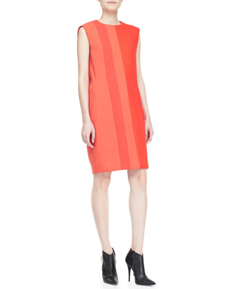 Sleeveless Two-Tone Shift Dress