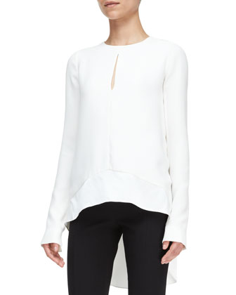 Long-Sleeve High-Low Blouse