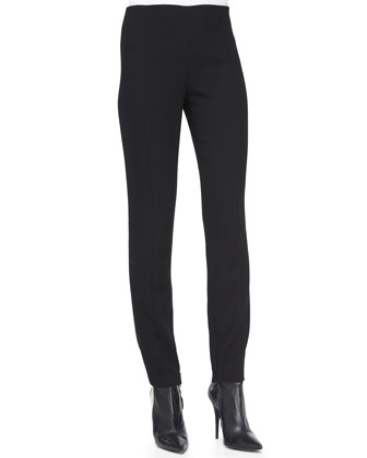 Wool Crepe Pants, Black