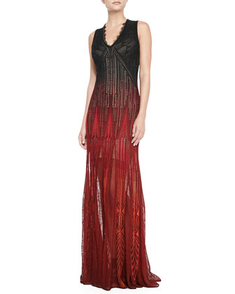 Sleeveless Degrade-Knit Gown