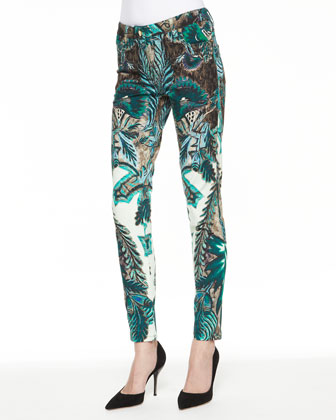 Exotic Floral Print Skinny Jeans, Green/Multi