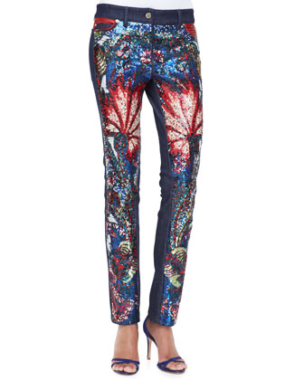 Sequined Exotic-Print Jeans
