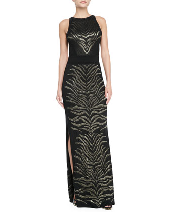 Sleeveless Tiger-Print Gown