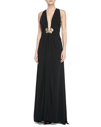 Plunging X-Back Ornament Gown