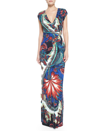 Jewel-Side Wrap-Front Maxi Dress