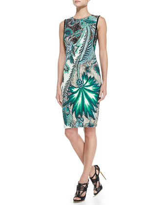 Sleeveless Back-Zip Printed Sheath Dress