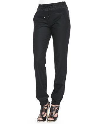 Tie Elastic-Waist Track Pants