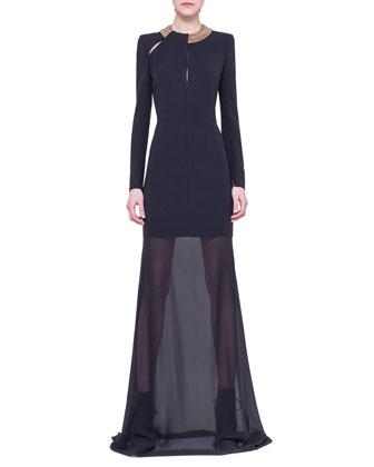 Chain-Neck Sheer-Skirt Gown