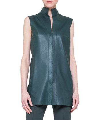Sleeveless Napa Leather Top