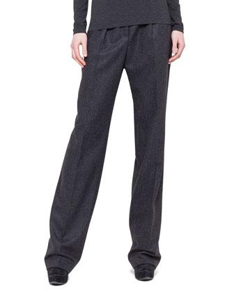 Pleated Straight-Leg Flannel Pants